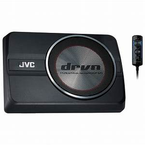 JVC CW-DRA8 250W Compact Powered Subwoofer Under Seat Active Subwoofer with Bass Controller