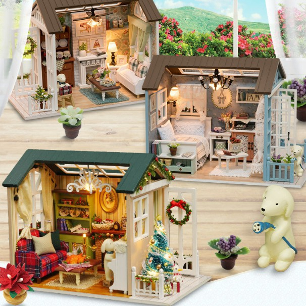 Home Kids Diy Dollhouse Material Wooden Miniature House Model Available