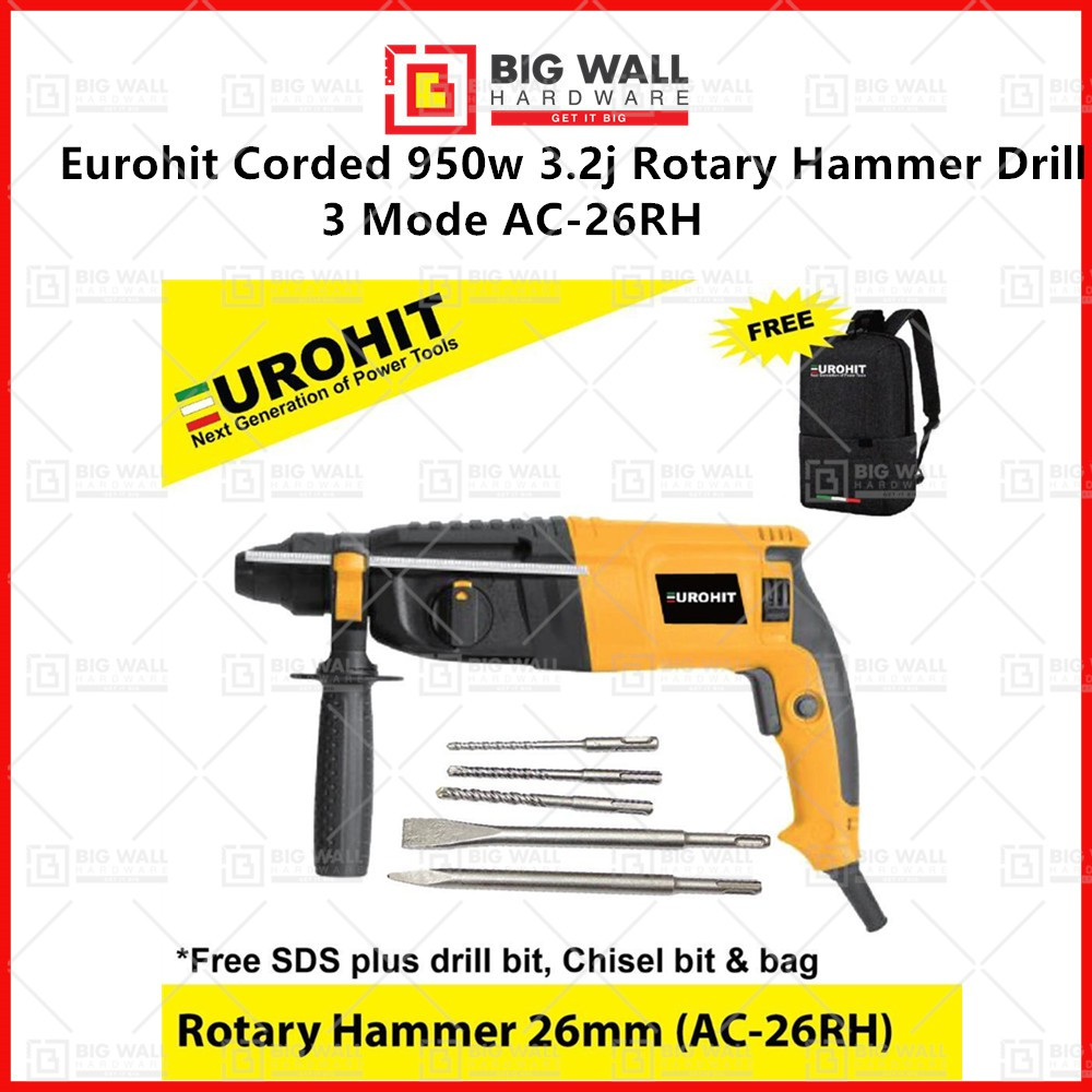 Eurohit Corded AC-26RH 950w 3.2j Rotary Hammer Drill 3 Mode  Big Wall Hardware