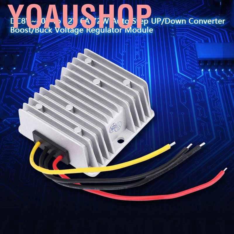 DC 8V~40V to 12V Auto Step Up//Down Voltage Converter 6A 72W Adjustable Boost Buck Voltage Regulator Module for Power Conversion