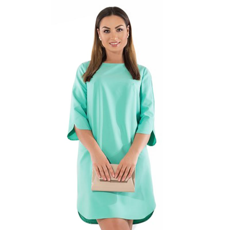 74edbbc5e652 Women Solid Large Size Elegant Plus Size Casual Lady Office Maxi Dress L-  6XL | Shopee Malaysia