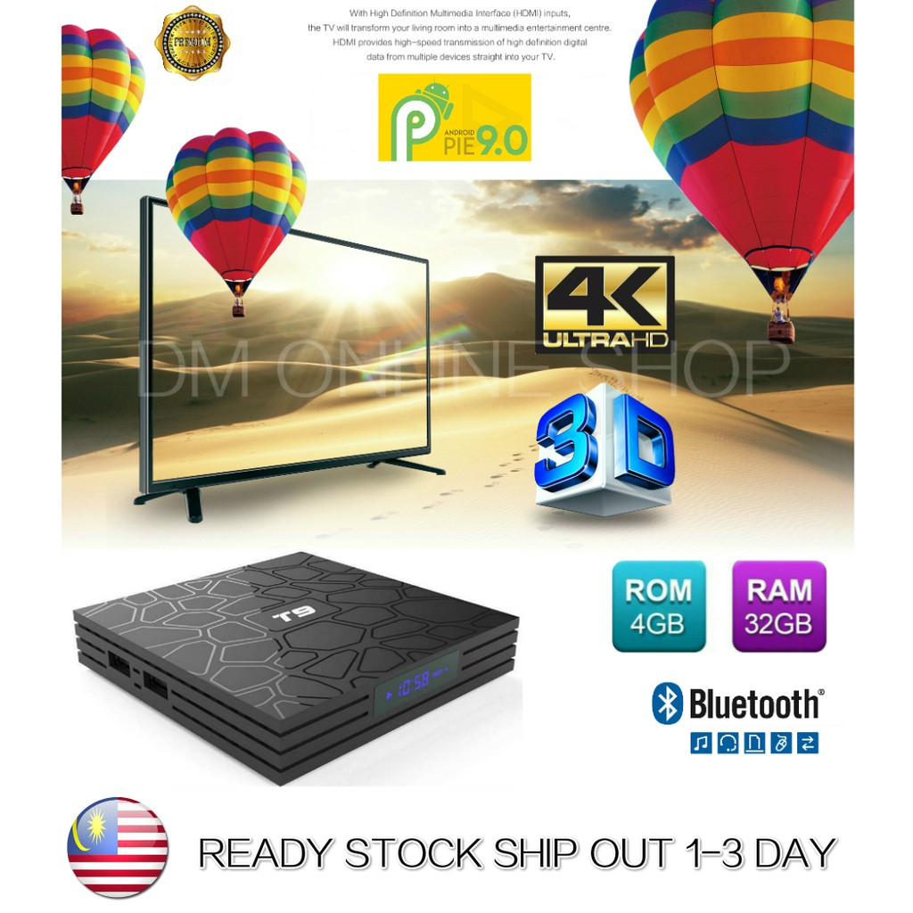 😍Preinstall10000 Channel+LatestApp😍 4GB+32GB NEWT9 Tv Box Android Box  TvBox