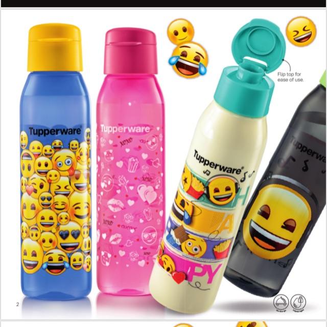 {READY STOCK} Tupperware Emoji Eco Bottle with Gift Box 500 ml X 4 pcs