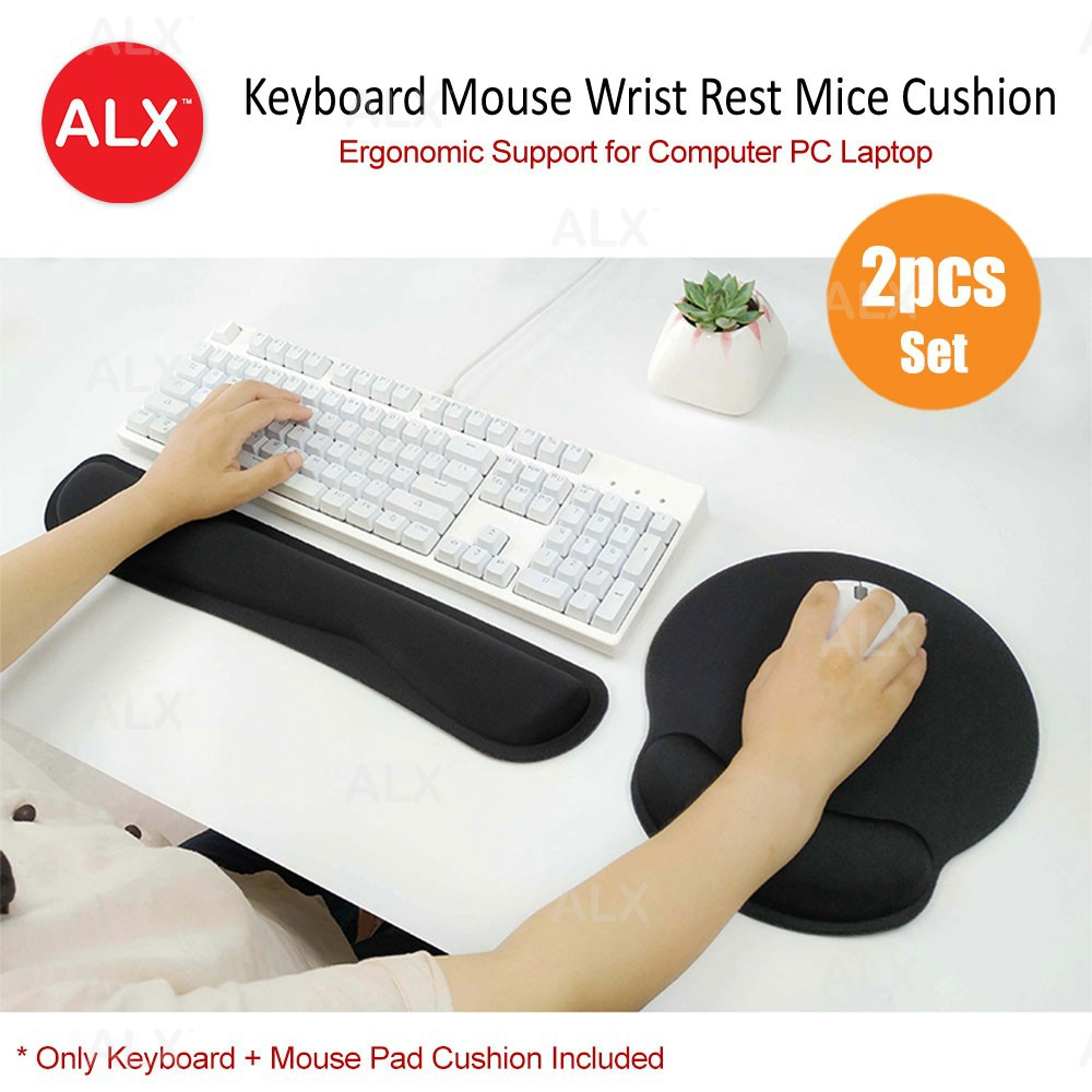 ALX Ergonomic Support Memory Foam Cushion Keyboard Wrist Mouse Rest Pad Set