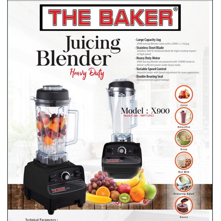 VARIABLE SPEED 1500W 2L The Baker X900 Commercial JUICING Blender