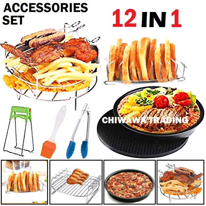7 Inch 12 Pcs Set Universal Air Fryer Accessories Skewer Rack Roast BBQ Grill Pizza Tray Baking Pan Cake Barrel Pot