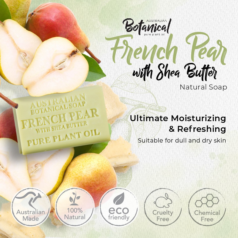 French Pear With Shea Butter, For Brighter Skin Complexion, Moisturizing Australian Botanical Natural Soap 200g