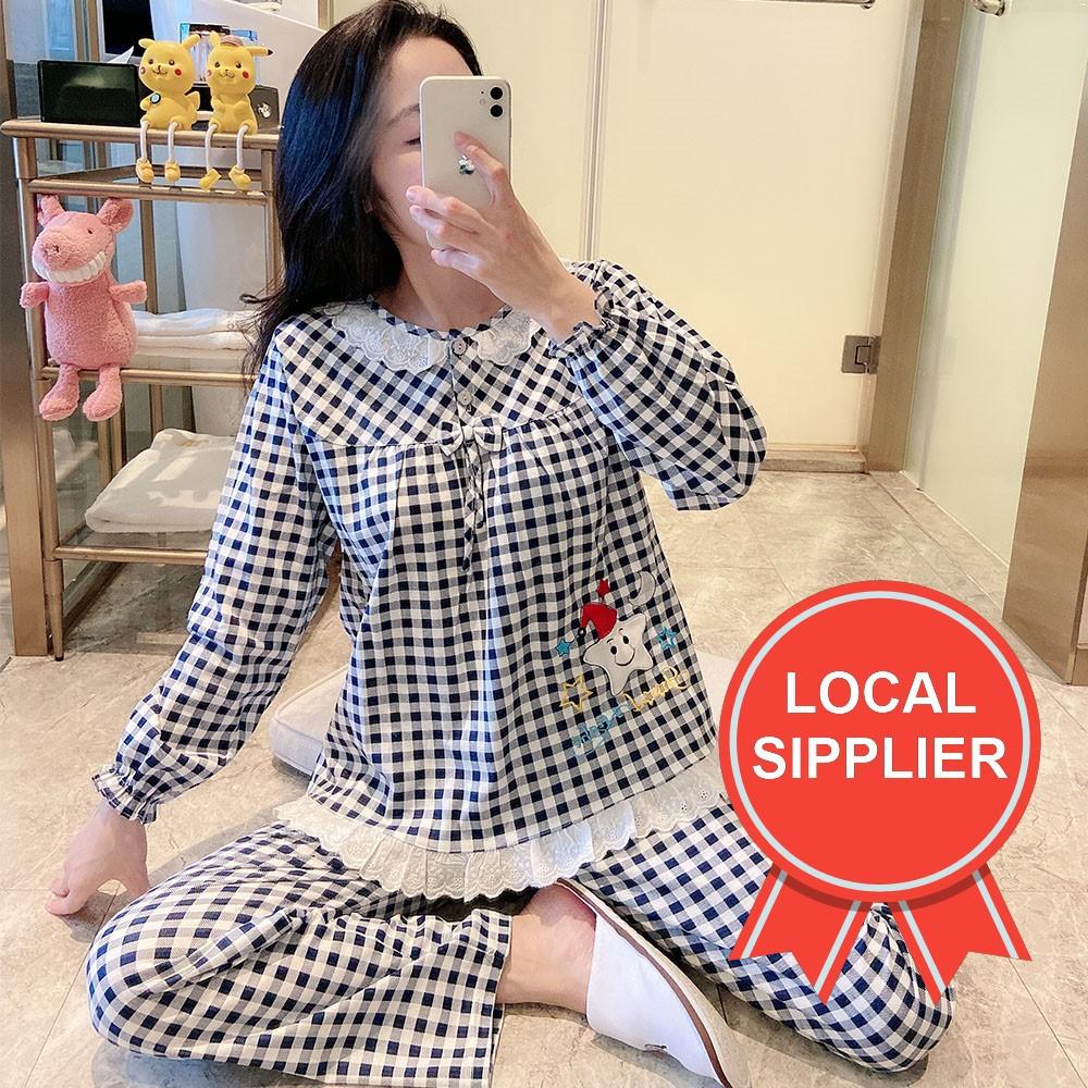 print women nightwear long sleeve beautify comfort Sleepwear set pyjamas clothing, Size: XL and L