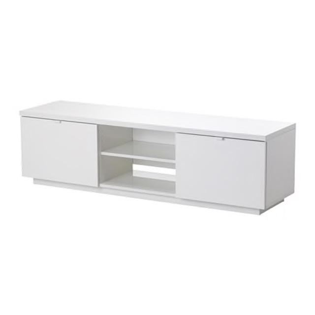 Ikea Byas Tv Bench Tv Cabinet With Storage High Gloss White 160x42x45 Cm Shopee Malaysia