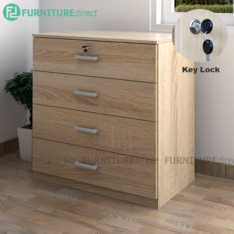 Furniture Direct BARDON 4 DRAWER CHEST OF DRAWERS WITH KEY LOCK- SONOMA OAK