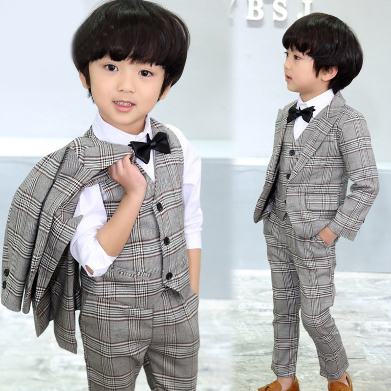 d6507c3ac ProductImage. ProductImage. 4 Pcs Kids Boy Wedding Formal Dress Gray Plaid  Jacket+Pants Vest Bow tie Suit