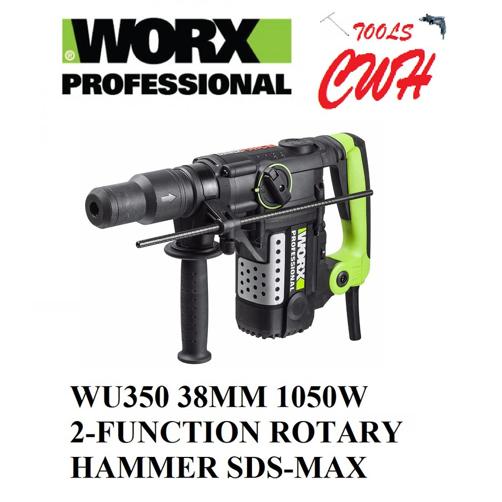 WORX WU350 38MM 2-FUNCTION ROTARY HAMMER DRILL DEMOLITION HAMMER SDS-MAX 1050W