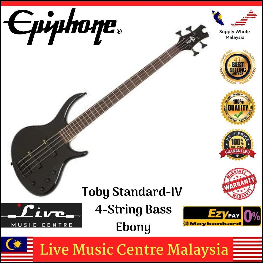 Epiphone Toby Standard-IV 4-String Bass Guitar, Ebony