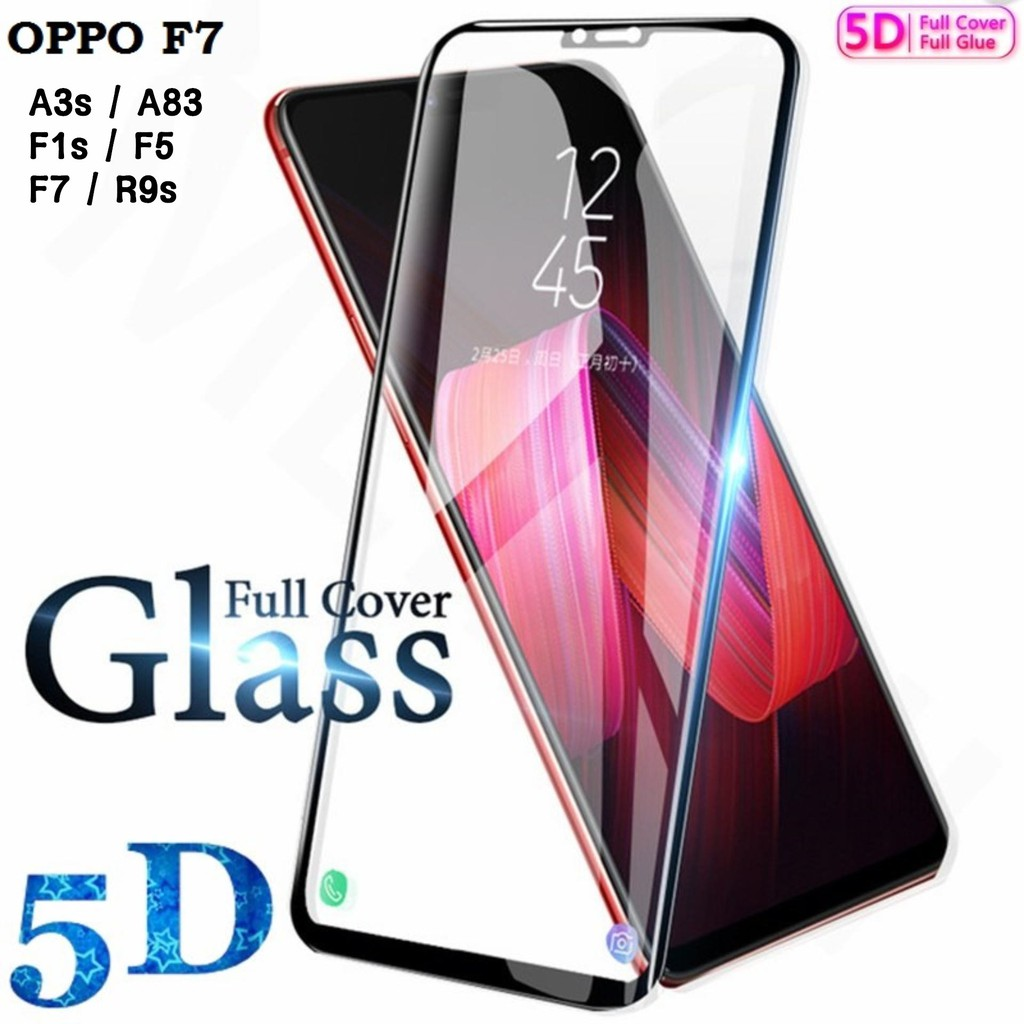 (Full) Oppo A3S A83 F1S F5 F7 R9S Full Tempered Glass Screen Protection 5D 手机防爆膜