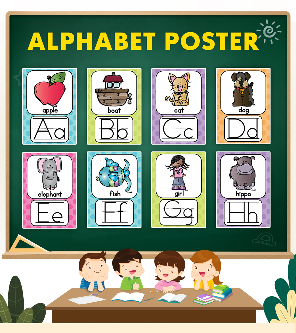 26 English Alphabets A4 Posters Kindergarten Classroom Decoration Baby Card Learn English Cards Kids Children Toys Gifts Shopee Malaysia