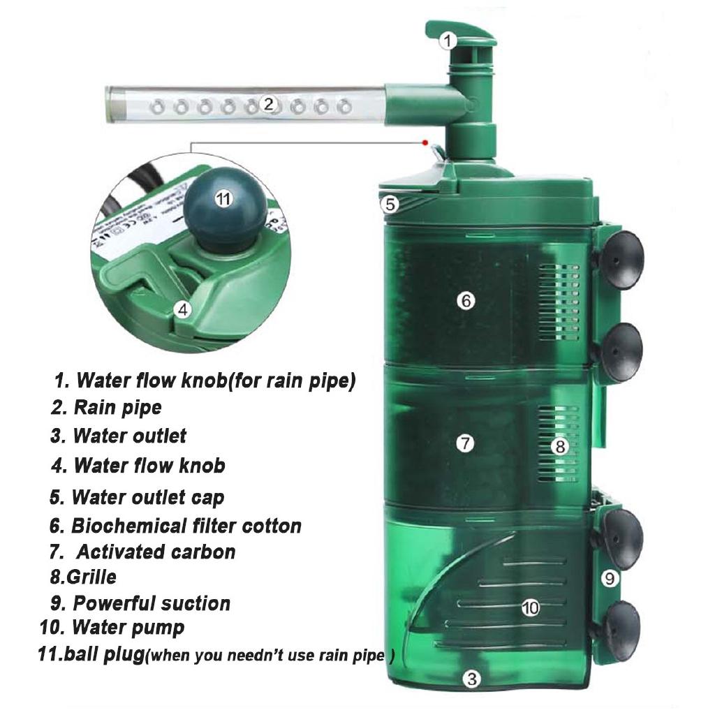 3 in 1 Aquarium Internal Filter Submersible Fish Tank Oxygen Pump