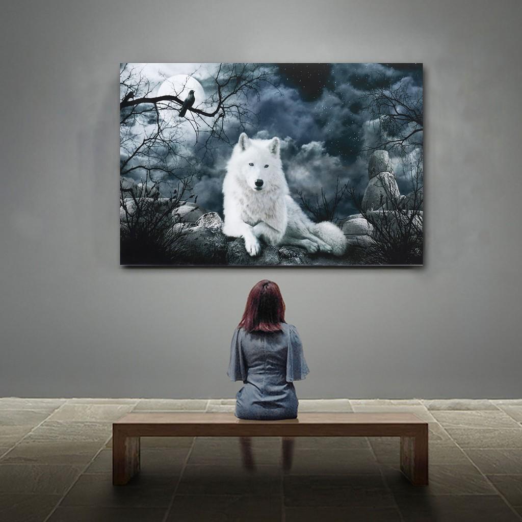 Wolf Oil Painting Canvas Art Print 50cmx76cm