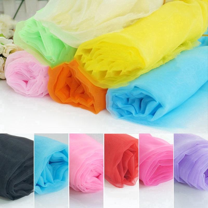 Organza Fabric Material Plain Soft Cloth Eco Craft Dress Bridal Veil Curtain New