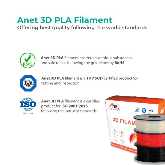 Anet 340m 1.75mm PLA 3D Printing Filament Biodegradable Material - Black (3 Units)