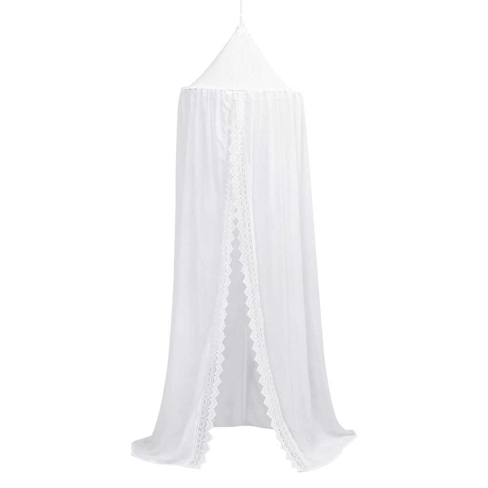 Kids Round Dome Bed Canopy Chiffon with Lace Height of 94.5in Princess Girls Castle Hanging Mosquito Net for Rooms Crib
