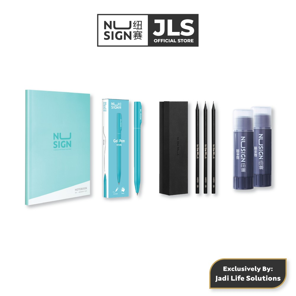 Jadi NuSign Lagoon Blue Student Premium Writing Set NoteBook Pen Pencil Glue NS247 / NS721 / NS552 / NS193