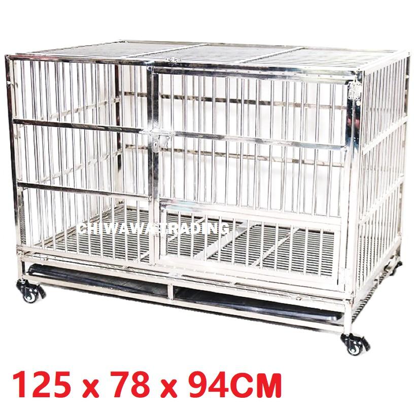 CGF1【125 x 78 x 94cm】 Stainless Steel Pet Dog Cat Rabbit Cage Crate House Home / Rumah Haiwan Anjing Kucing Sangkar