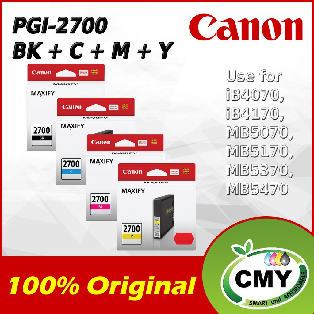 CANON PGI-2700 BLACK CYAN MAGENTA YELLOW INK CARTRIDGE 100% ORIGINAL