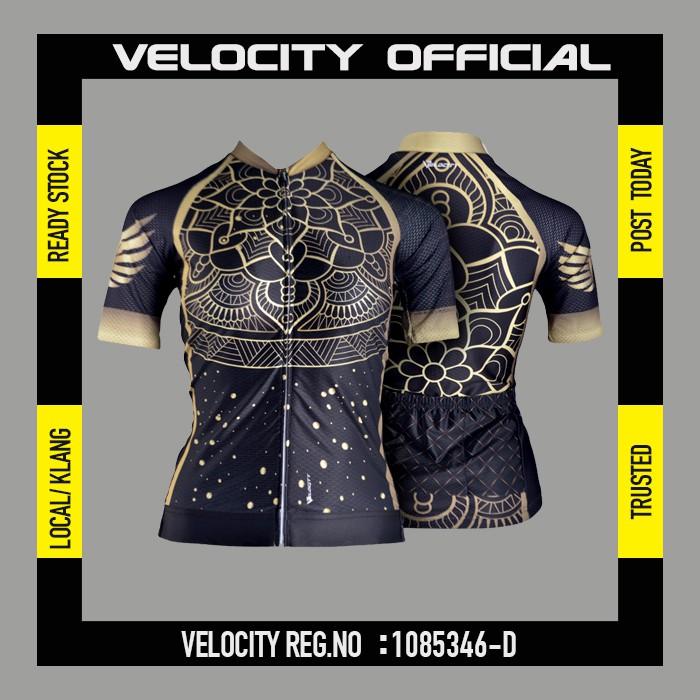 [READY STOCK]Velocity Lady Short Cycling Jersey-black golden