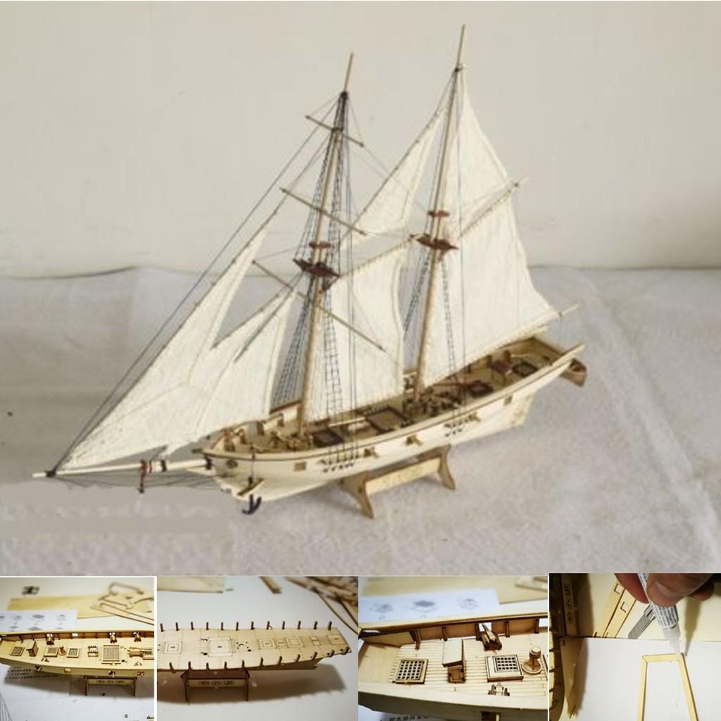Joytoy1100 Scale Wooden Small Sailboat Ship Kits Decoration Boat Gift