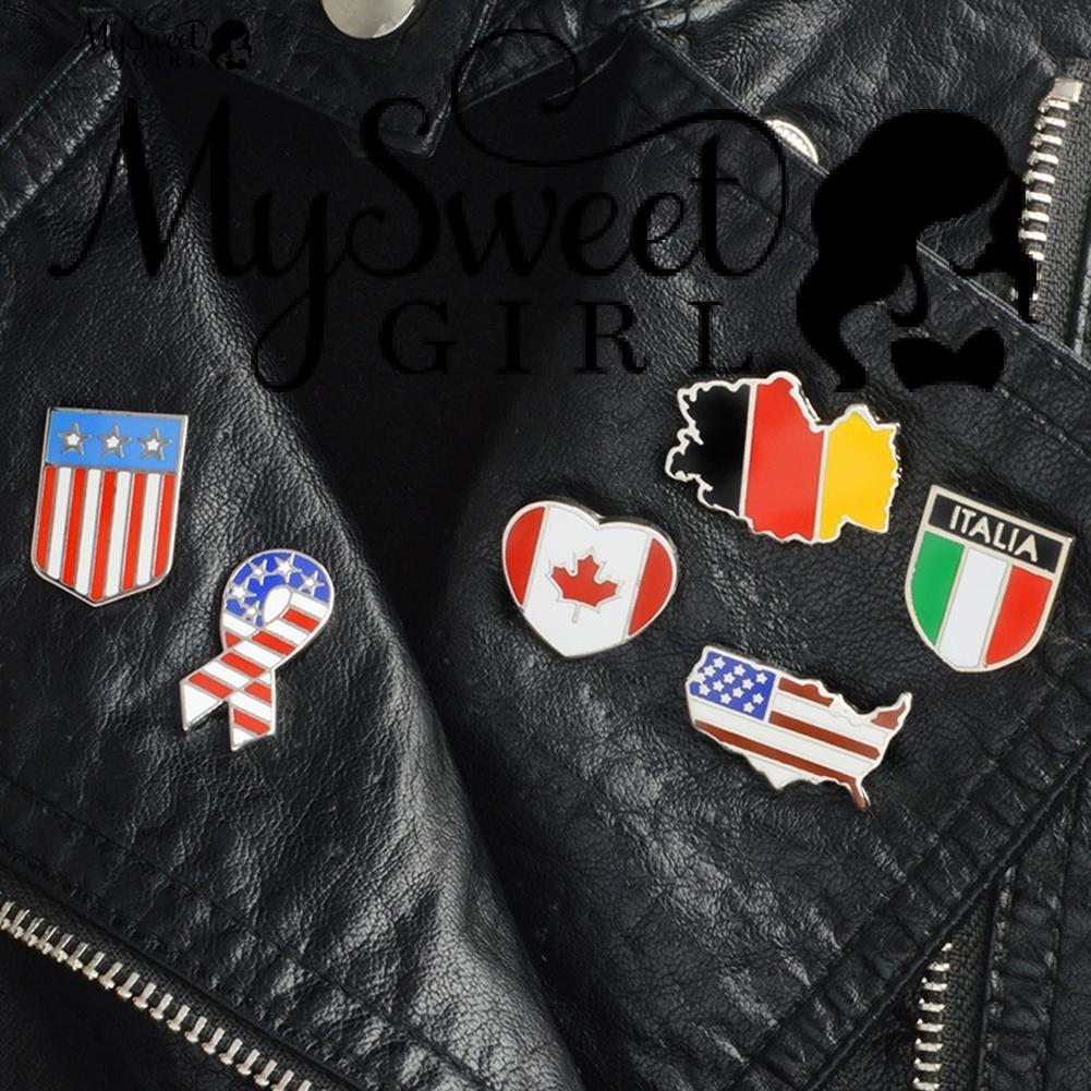 190acc6a474 🙎💖💎1Pc World Map Country Flag Pin Jeans Coat Enamel Pattern Lapel ...