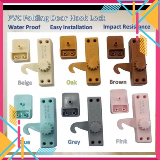 PVC Folding Door Hook Lock Pintu Sliding Door Plastic Hook Penyangkut GREY