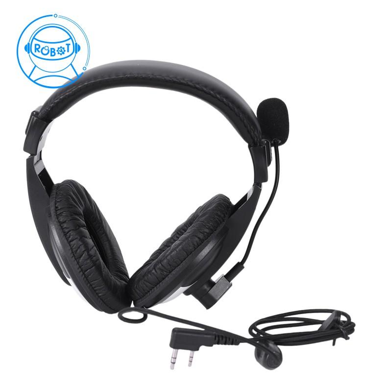 5bd68bc065b72 Heavy-Duty Two-Earphone Headset Boom Mic For Kenwood Puxing Wouxun Baofeng  Radio