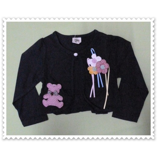 Long Sleeve Navy Blue Cardigan For Girls Age 1 to 2 Years Old