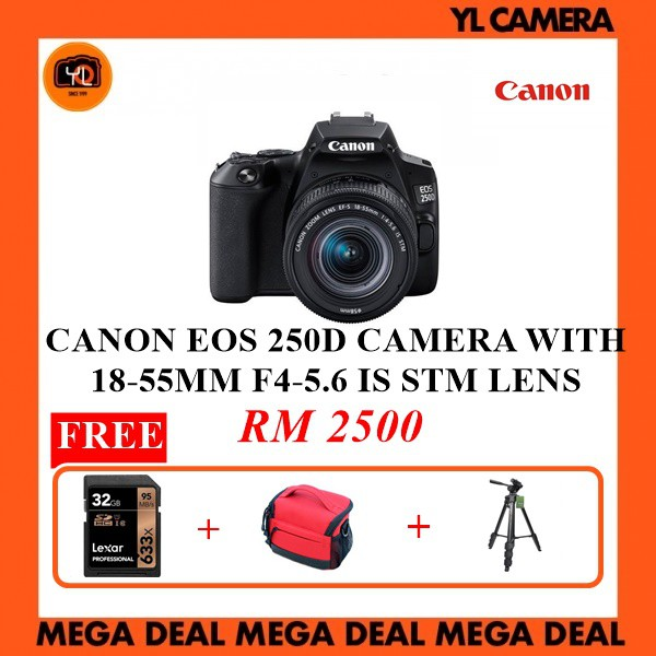 Canon Eos 250d Camera With 18 55mm F4 5 6 Is Stm Lens