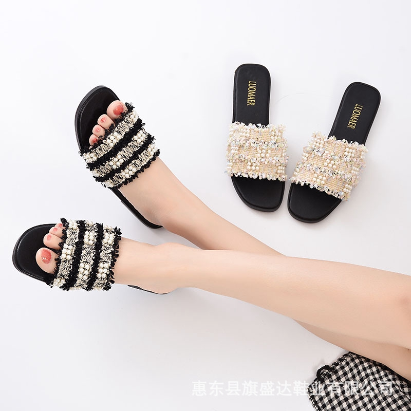 62a36935ccc9 cross border new fashion wild word drag pearl sandals female flat floral  slipper