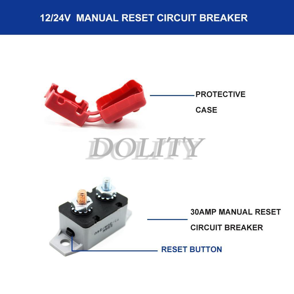 30 Amp Manual Reset Circuit Breaker With Belt Cover Reset