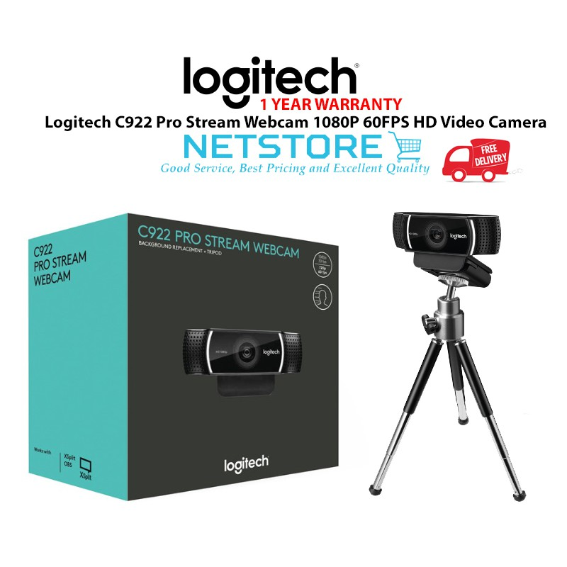 LOGITECH C922 Pro Stream Webcam 1080P 60FPS HD Video Camera