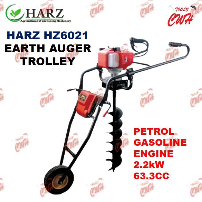 HARZ HZ6021 PETROL GASOLINE ENGINE EARTH AUGER MACHINE TROLLLEY MESIN GERUDI TANAH