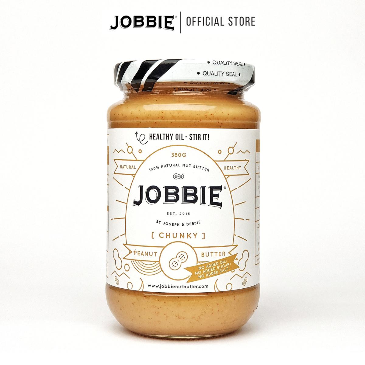 JOBBIE Peanut Butter - Chunky Pure (380g) - NO Sugar & Salt