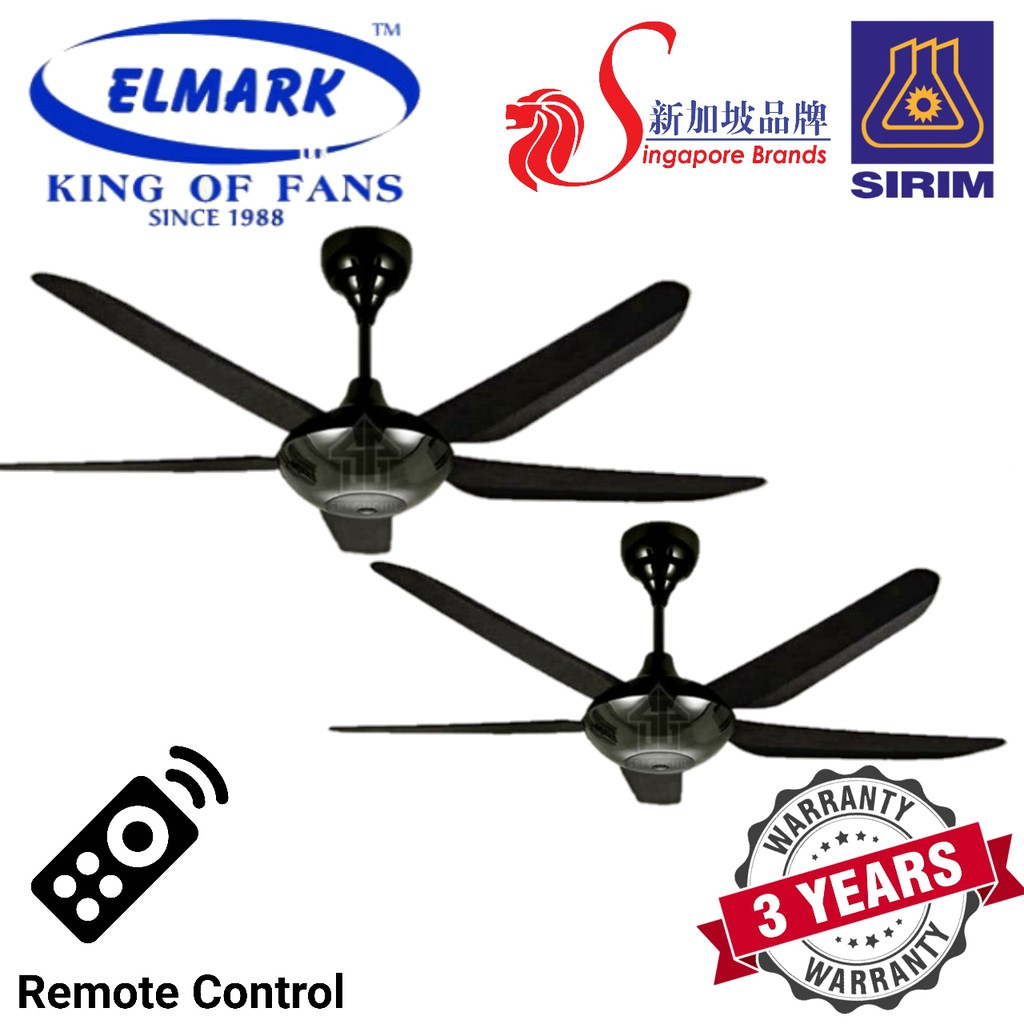 ELMARK 56'' 5 BLADES CEILING FAN WITH REMOTE CONTROL ( SUPER123 BLACK /  WHITE )