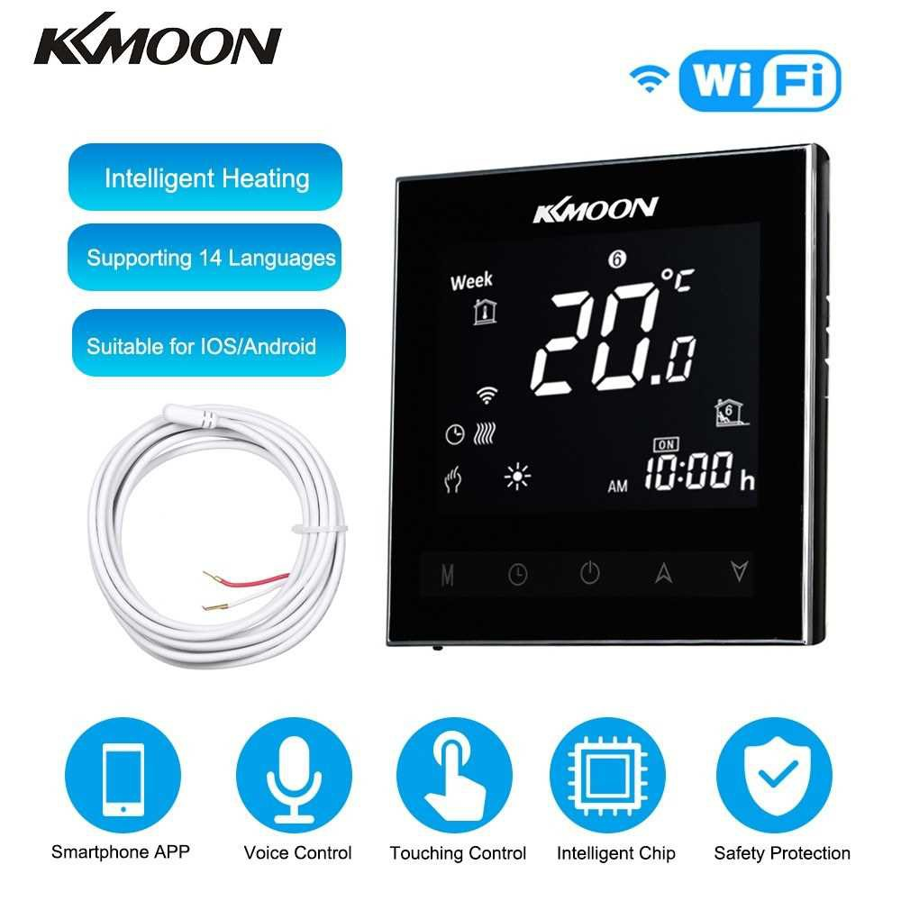 KKmoon Digital Underfloor Heating Thermostat for Electric Heating System Floor & Air Sensor with WiFi Connection & Voic