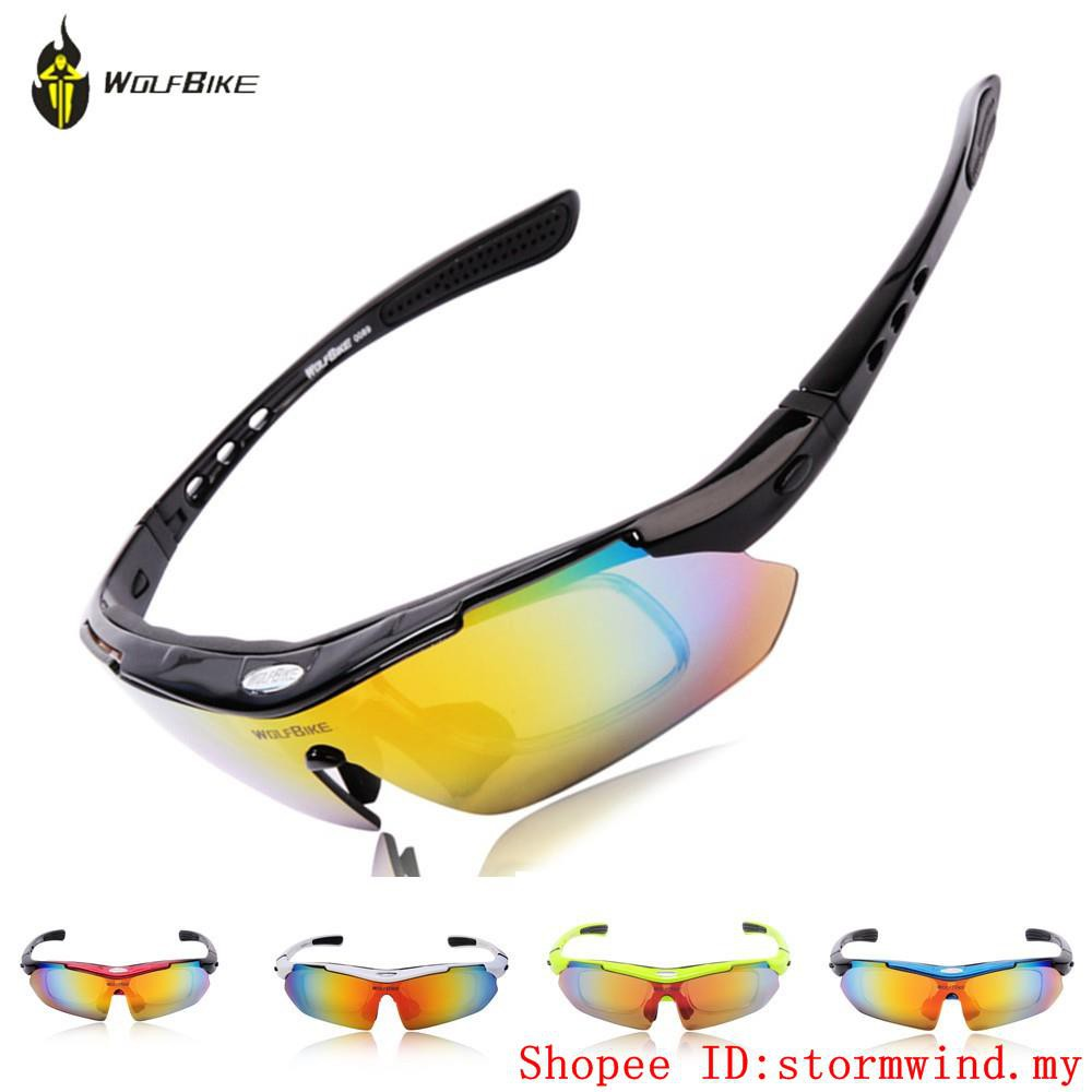 411b212bdd9 WOLF BIKE Cycling Polarized Outdoor Sports Bike Cycling Glasses Driving  Racing Goggles Eyewear 5 Lenses Bicycle Glasses