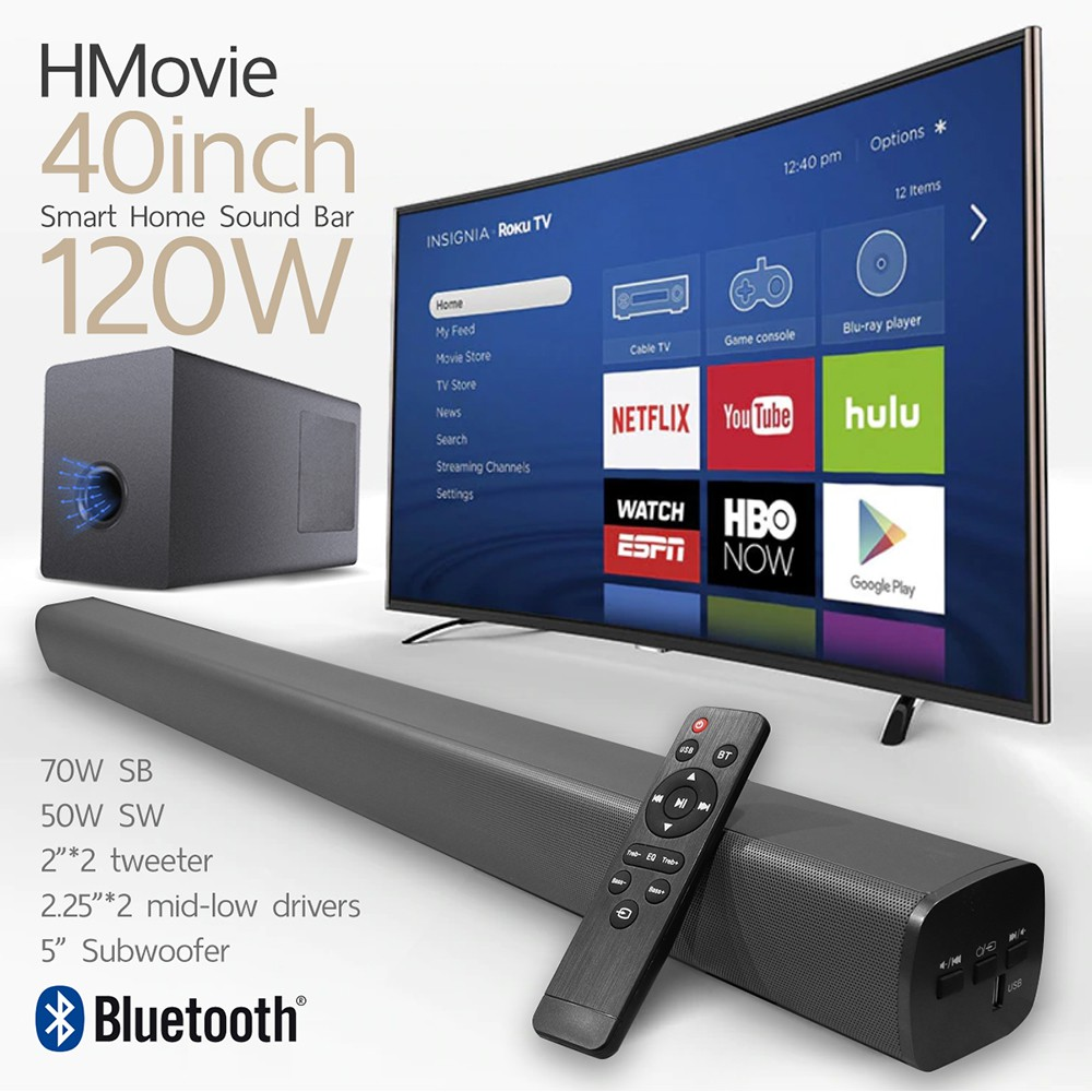 HMovie SoundBar 120W เบสเยอะ เสียงดีกว่า Xiaomi 2.1 Channel Bluetooth + Subwoofer BY DigilifeG
