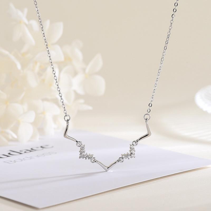 93fd4137e47 ProductImage. ProductImage. S925 Sterling Silver Wave Diamond Necklace  Female Korean Tem