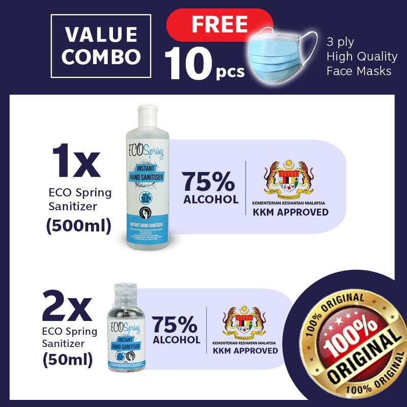 【75% Alcohol Sanitizer】(1) Ecospring 500mL + (2) Ecospring 50mL Free Face CoVer