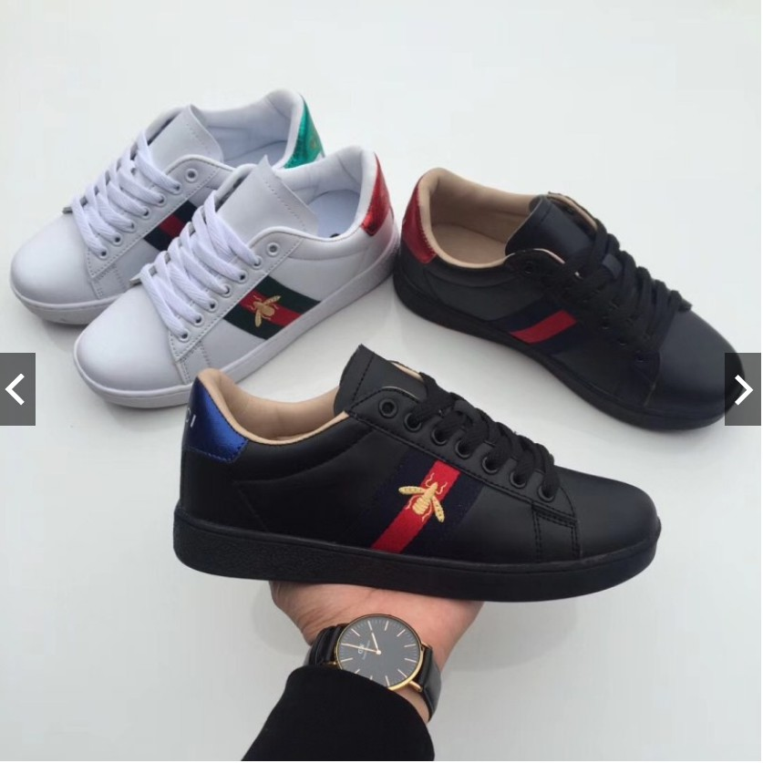 48a3e6120c32e Men Women Gucci Bee Ace Embroidered Low-Top Sneaker Shoes Available Size  36-44