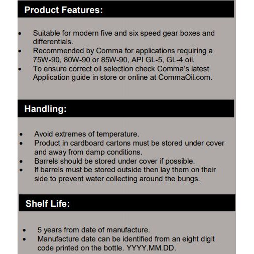 COMMA SX75W-90 GL-5 - Semi Synthetic Manual Transmission