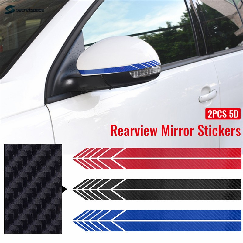 5D Carbon Fiber Car Rearview Mirror Sticker Racing Stripes Decorative Decals