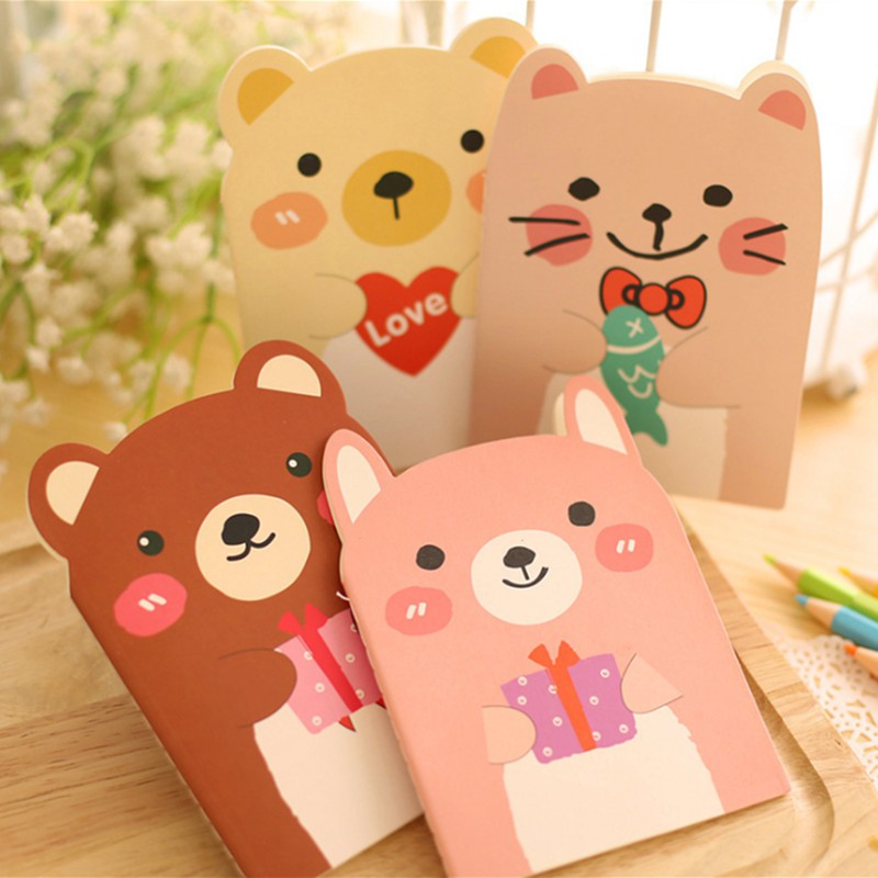 Mini Cute Bear Cartoon Diary Notebook with Lined Paper Notepad