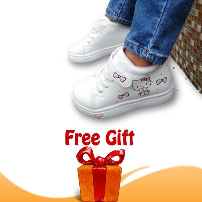 Kasut Budak Perempuan Hello Kitty by OEM Girl Hi Cut Shoes Sneakers (white)